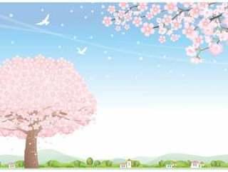 樱花花瓣飞的季节风景