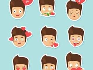 可爱的卡通男孩表情符号