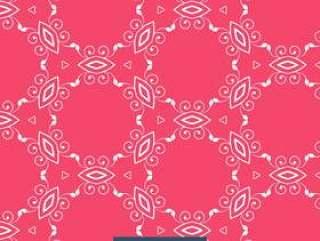 红色背景与花卉图案