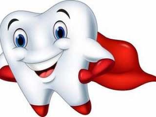 超级英雄牙齿卡通用拇指向上