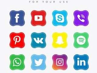 方形社交媒体集合
