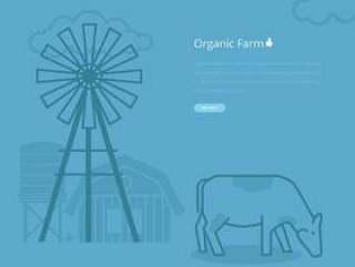 线条样式的牛例证和农业农场