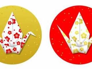 折叠起重机梅花模式红色和金色
