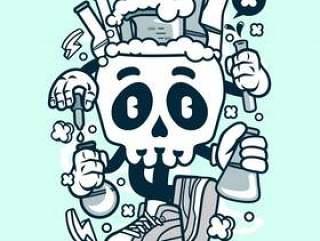 化学头骨卡通
