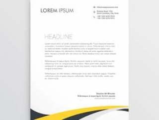 典雅的黄色和灰色波浪信头设计模板