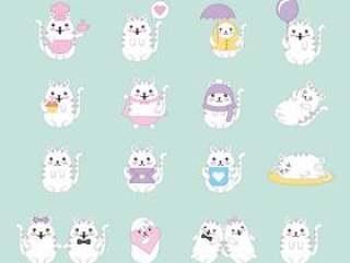卡哇伊猫动物卡通集合
