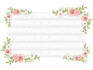 植物框架设置粉红色的花白板