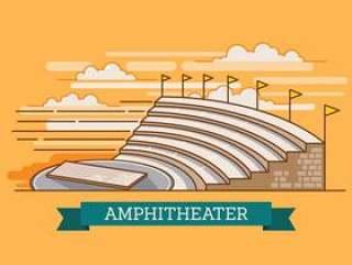 圆形剧场毁了古代建筑历史城市矢量图在3D看起来