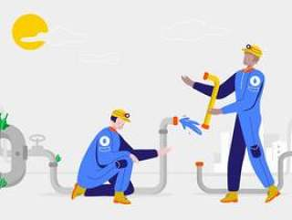 清水传染媒介例证的水管工修理管子