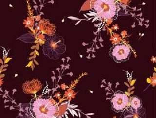 老式的无缝矢量花卉图案