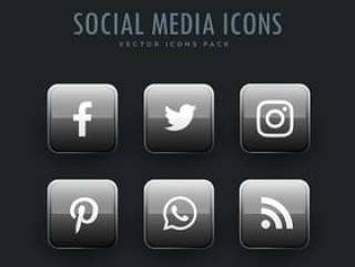在按钮样式的灰色社会网络图标