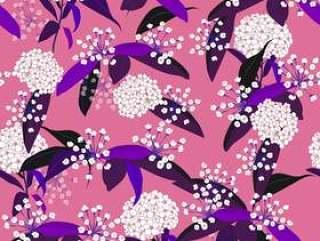 夏天甜美无缝花卉图案上粉红色孤立
