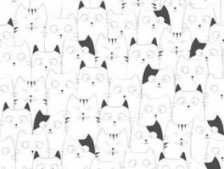 可爱的猫无缝图案背景