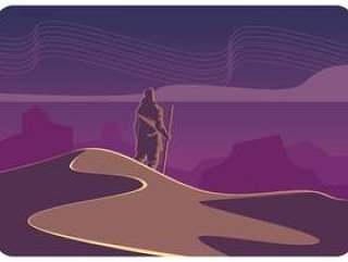 沙漠夜空矢量