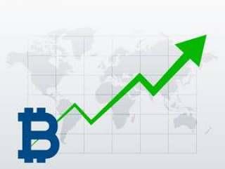 比特币上升趋势增长图表矢量