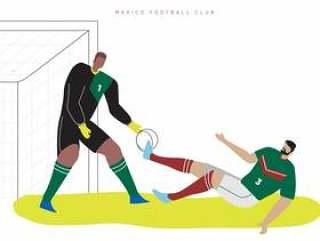 墨西哥世界杯足球字符平面矢量图