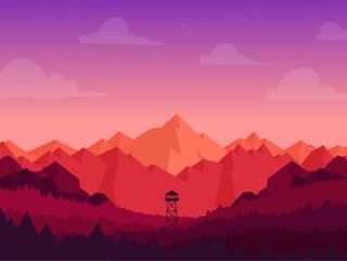 矢量彩色风景插画