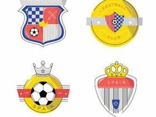 老式的西班牙足球修补程序标志平面矢量图