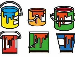 矢量油漆罐颜色图标集