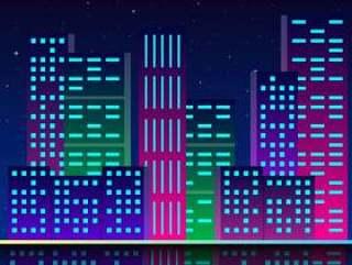 霓虹灯的未来城市复古风格80年代