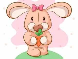 可爱的卡通兔子用胡萝卜。