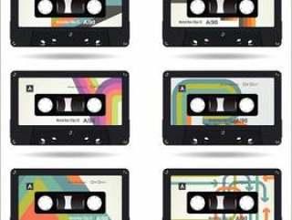 复古老式盒式磁带孤立的白色背景