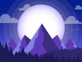 矢量炫彩紫色风景插画