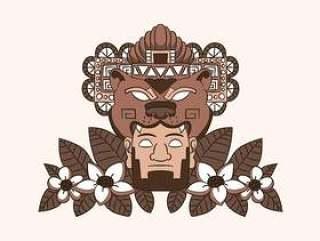 阿兹台克人装饰品与熊人和叶子