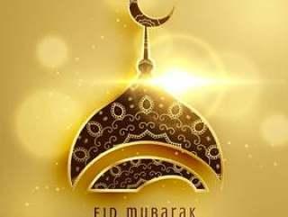伊斯兰eid节日的美丽的清真寺设计与金黄dec