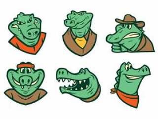 的鳄鱼标志矢量