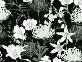 黑色和白色的花朵无缝模式矢量