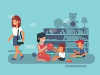 保姆和孩子们在图书馆矢量