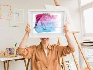 Frame mockup with studio art concept