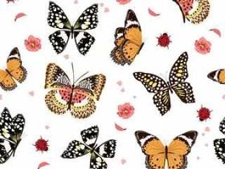 飞行在庭院里的蝴蝶,无缝的样式传染媒介