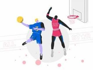 灌篮球篮球运动员全明星矢量平面插画