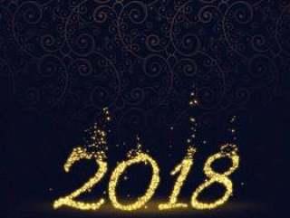 用闪光粒子背景做的新年快乐2018年