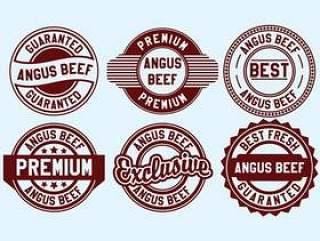 安格斯牛肉邮票矢量