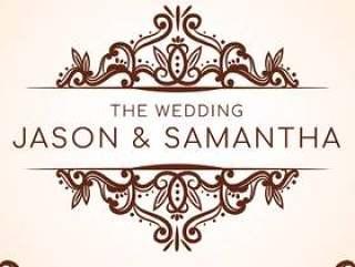 婚礼卡片矢量