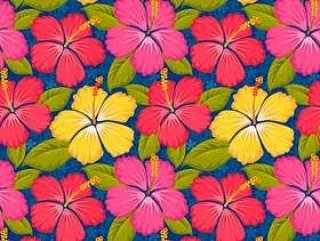 七彩花朵无缝模式。