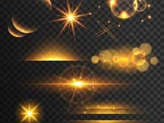 一套金色闪光灯和闪烁着透镜效果在t上