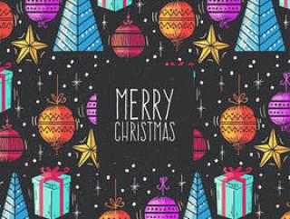 彩绘圣诞元素贺卡