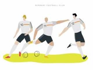 德国足球字符平面矢量图