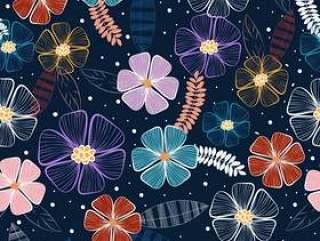 无缝的手拉的花纹花样