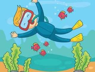 水肺潜水矢量