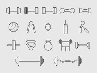 健身房工具线图标矢量