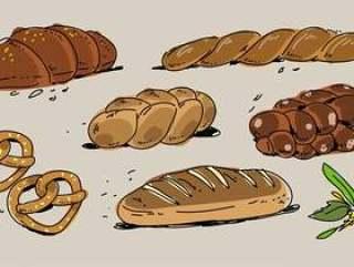 法国面包店面包手拉的传染媒介例证