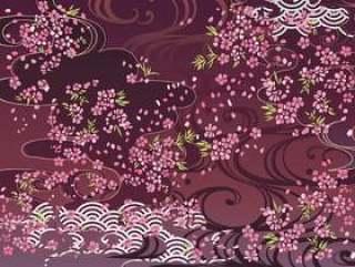 日本模式樱花背景