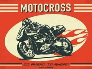 摩托车越野赛复古矢量海报