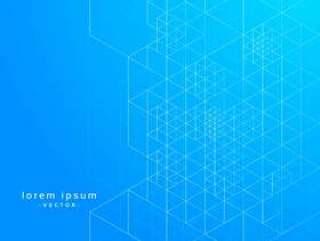 几何线条蓝色打印矢量背景