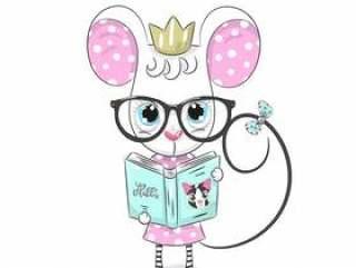 与动画片手拉的书的逗人喜爱的小老鼠